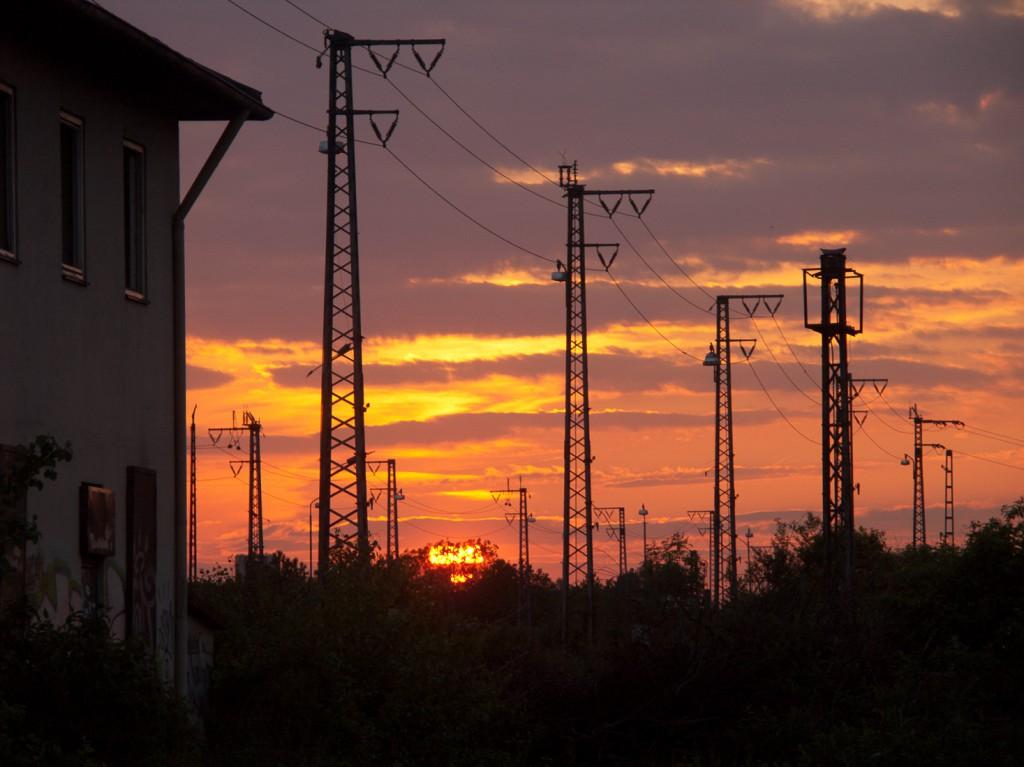 Sonnenuntergang in der Heidelberger Bahnstadt. Ganz in der Nähe befand sich unser Proberaum, und ganz in der Nähe war auch erstmal wieder Endstation für Botany Bay.